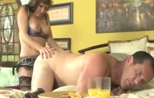 Mature brunette wants to fuck his ass