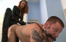 Dominating hoe fucking his ass hard
