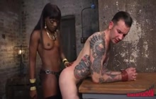 Slim black mistress pegging white guy