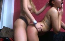 Lesbian strap on fuck video