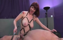 Mistress fucking her slave with strapon