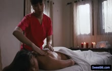 Naughty masseuse Jade Kush rubs and licks her clients pussy