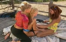 Three gorgeous hotties having outdoor sex