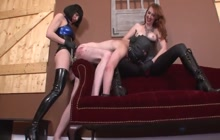 Intense pegging with male slave