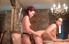 Hot lesbians fucking with a strapon