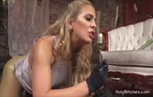 Busty blonde MILF loves hardcore BDSM sex