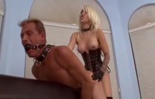 Hot blonde wife destroying husband's ass