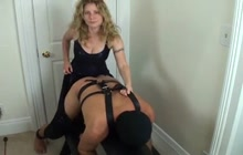 Blonde Mistress Pegging Her Man