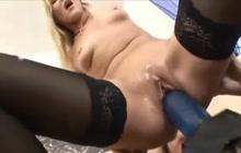 Lesbian sluts using a huge toy